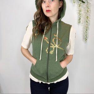 L.A.M.B. sleeveless zip up hoodie green gold 1074